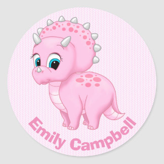 Cute Baby Pink Triceratops Dinosaur Classic Round Sticker