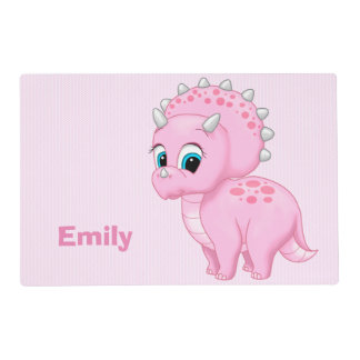 Cute Baby Pink Triceratops Dinosaur Placemat