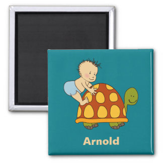 Cute Baby Playing With Tortoise Monogrammed Magnet