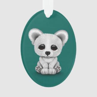 Cute Baby Polar Bear Cub on Teal Blue Ornament