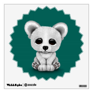 Cute Baby Polar Bear Cub on Teal Blue Wall Sticker