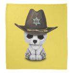 Cute Baby Polar Bear Cub Sheriff Bandana