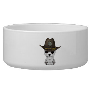 Cute Baby Polar Bear Cub Sheriff Bowl