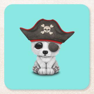 Cute Baby Polar Bear Pirate Square Paper Coaster