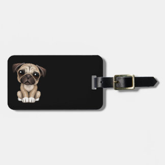 Cute Baby Pug Puppy Dog on Black Bag Tags
