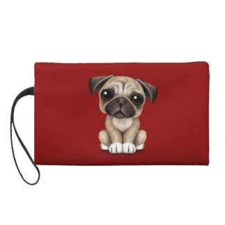 Cute Baby Pug Puppy Dog on Deep Red Wristlet