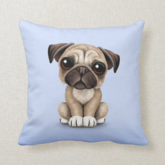 Cute Baby Pug Puppy Dog on Light Blue Throw Pillow