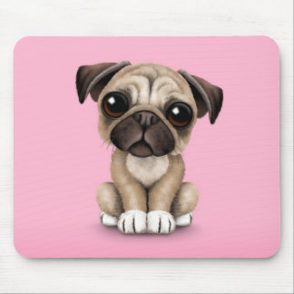 Cute Baby Pug Puppy Dog on Pink Mouse Pad