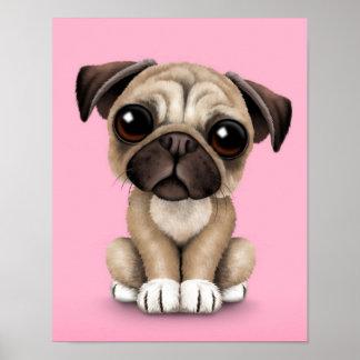 Cute Baby Pug Puppy Dog on Pink Print