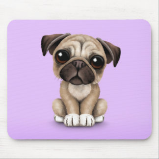 Cute Baby Pug Puppy Dog on Purple Mouse Pad