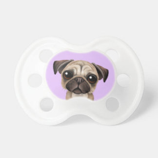 Cute Baby Pug Puppy Dog on Purple Pacifier