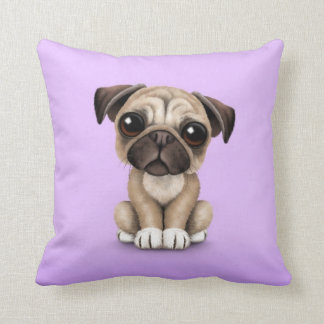 Cute Baby Pug Puppy Dog on Purple Throw Pillow