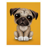 Cute Baby Pug Puppy Dog on Yellow Posters