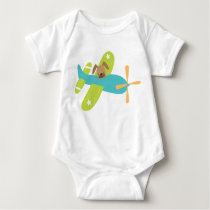 Cute Baby Puppy Dog in Airplane Baby Bodysuit