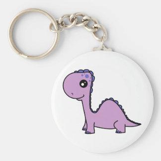 Cute Baby Purple Dinosaur Basic Round Button Keychain