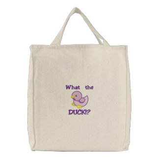 Cute Baby Purple Duck, What the DUCK!? Embroidered Bag