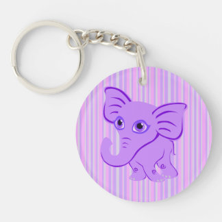 Cute Baby Purple Elephant With Curling Trunk Keychain