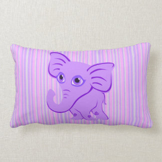Cute Baby Purple Elephant With Curling Trunk Lumbar Pillow