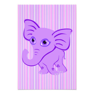 Cute Baby Purple Elephant With Curling Trunk Photo Print