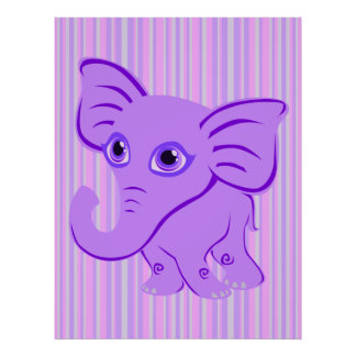 Cute Baby Purple Elephant With Curling Trunk Posters