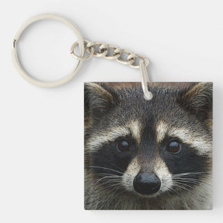 Cute Baby Raccoon Face Cloe Up with Pretty Eyes Keychain