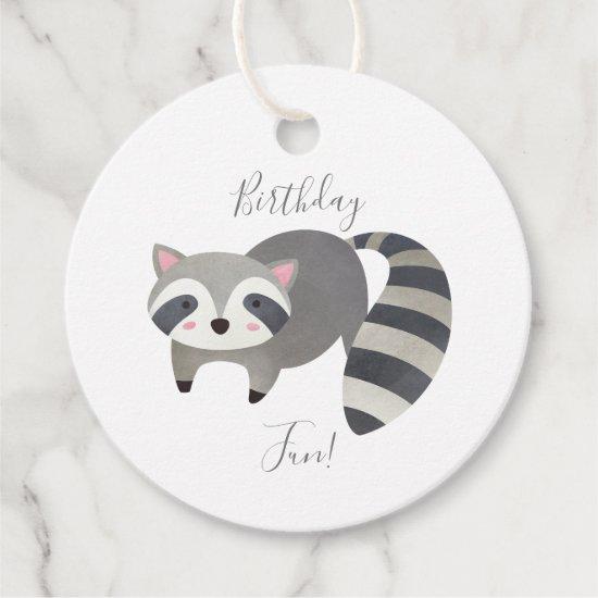 Cute Baby Raccoon Hedgehog Birthday Thank You Favor Tags