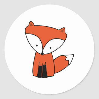 Cute Baby Red Fox Animal Classic Round Sticker