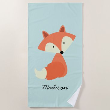 Beach Themed Cute Baby Red Fox Beach Towel