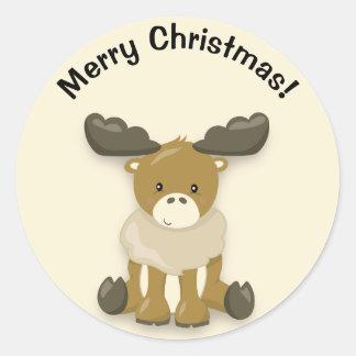 Cute Baby Reindeer Merry Christmas Sticker