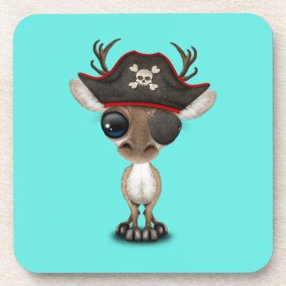 Cute Baby Reindeer Pirate Beverage Coaster