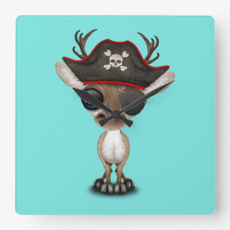 Cute Baby Reindeer Pirate Square Wall Clock