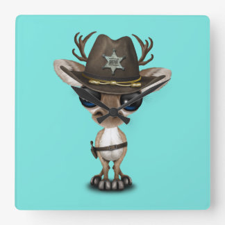 Cute Baby Reindeer Sheriff Square Wall Clock