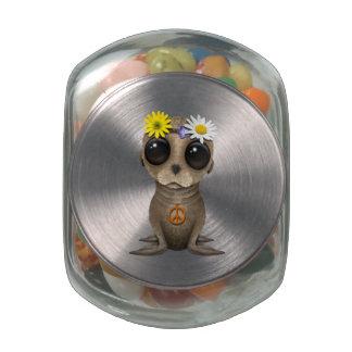 Cute Baby Sea Lion Hippie Glass Jars