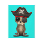 Cute Baby Sea lion Pirate Canvas Print