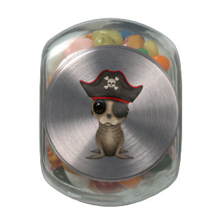 Cute Baby Sea lion Pirate Glass Candy Jars