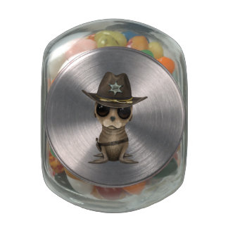 Cute Baby Sea Lion Sheriff Jelly Belly Candy Jars