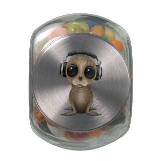 Cute Baby Sea lion Wearing Headphones Jelly Belly Candy Jar