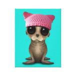 Cute Baby Sea Lion Wearing Pussy Hat Canvas Print