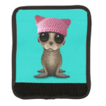 Cute Baby Sea Lion Wearing Pussy Hat Luggage Handle Wrap