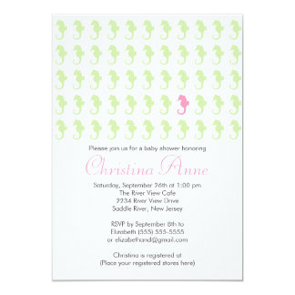Cute Baby Seahorse Girl Baby Shower Invitations