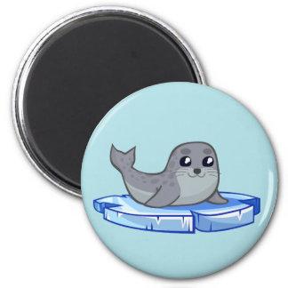 Cute baby seal cartoon 2 inch round magnet