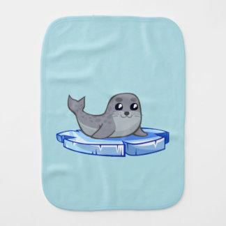 Cute baby seal cartoon baby burp cloth
