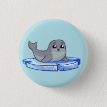 Cute baby seal cartoon button