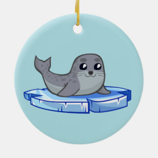 Cute baby seal cartoon ceramic ornament