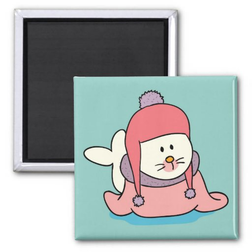 Cute Baby Seal Cartoon Magnet