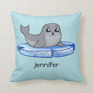 Cute baby seal cartoon throw pillow