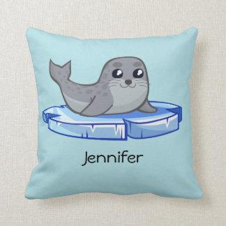 Cute baby seal cartoon throw pillow