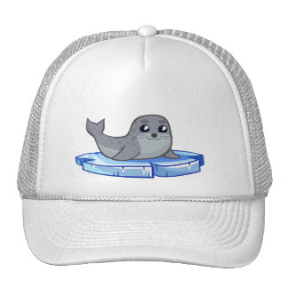 Cute baby seal cartoon trucker hat