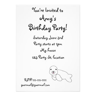 Cute baby seal personalized announcements
