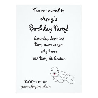 "Cute baby seal pup 6.5"" x 8.75"" invitation card"